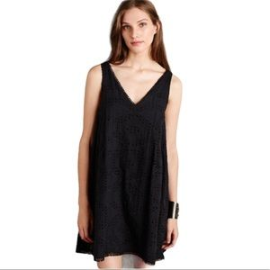 Anthro Maeve Lucy Eyelet Broderie Black Dress SM
